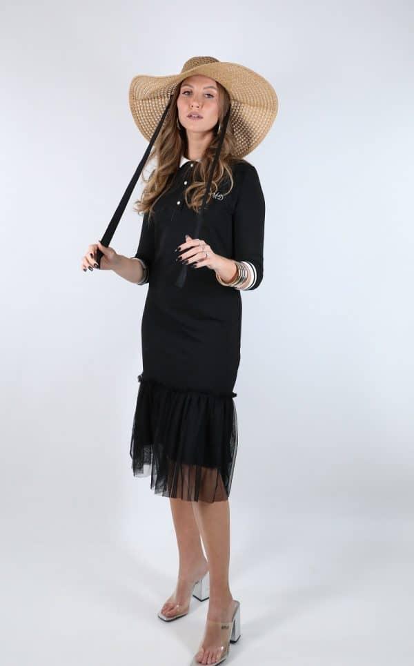 שמלת פולו שחור מיטל דוד