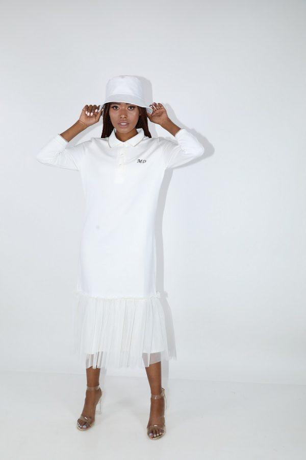 שמלת פולו לבן מיטל דוד