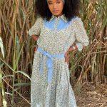 שמלת אביב טורקיז גינס בהיר